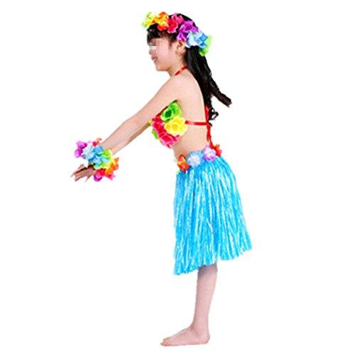 Imagen de hawaiano vestido falda hierba para ninas guirnaldas de flores 5pcs accesorios de playa costume disfraces azul alternativa