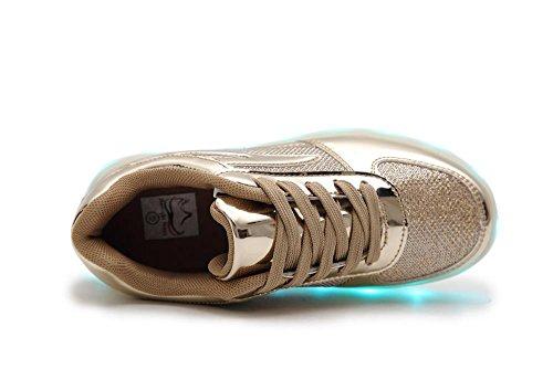 IDEA FRAMES 7 Farbe USB-Aufladung LED-Schuhe für Kinder Beiläufiger Turnschuh Mädchen und Jungen sport schuhe Gold