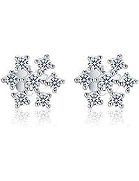 c8704bbc42f6 KRMZB Japón y Corea del Sur aretes de circonio de diamantes de plata  esterlina 925 simples pendientes de joyería de…