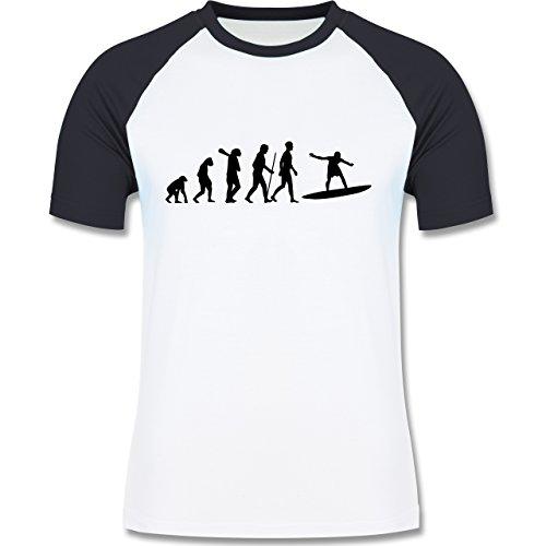 Evolution - Surfer Evolution - zweifarbiges Baseballshirt für Männer Weiß/Navy Blau