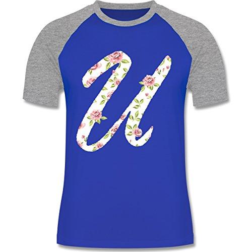 Anfangsbuchstaben - U Rosen - zweifarbiges Baseballshirt für Männer Royalblau/Grau meliert