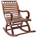 Jk Handicrafts Sheesham Wood Rocking Chair For Living Room / Garden - Natural Rosewood Finishing