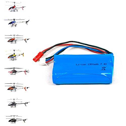 1300mAh, 7,4V Akku für RC Hubschrauber-Modelle 9053, 9050, 9101, 9104, 9115, 9118, LT-711, LT-713, F45/F645, T55, Ersatzakku für ferngesteuerte Helikopter