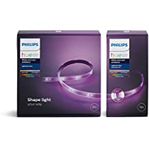 Philips Ruban lumineux Hue Lightstrip Plus 2m + Extension 1m - Fonctionne avec Alexa