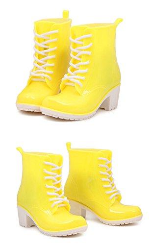 KISS GOLD (TM) Filles Fashion Martre Jelly Bottes de Pluie Chaussures Jaune