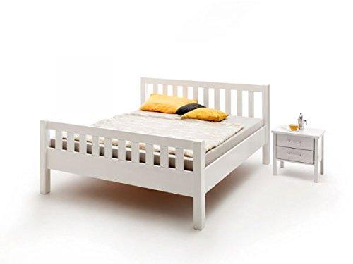 Vaja Möbel Seniorenbett Ben 140 x 200 cm Buche massiv Weiss Lackiert