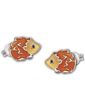 CLEVER SCHMUCK Silberne Ohrstecker Mini Igel orange braun schwarz lackiert glänzend STERLING SILBER 925 für Kinder