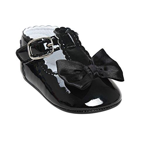 BOBORA Bambino ragazza morbida suola bowknot principessa scarpe piatte Prewalker presepe scarpe Nero