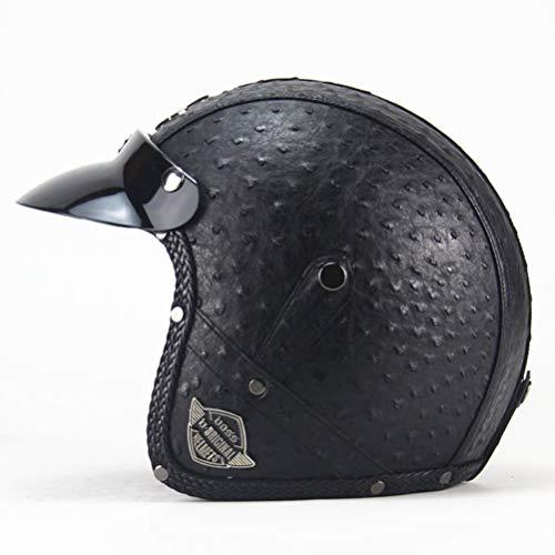 Pu Lederhelme Motorrad Chopper Fahrradhelm Offenes Gesicht Vintage Motorradhelm Goggle Maske Integralhelm Motorrad