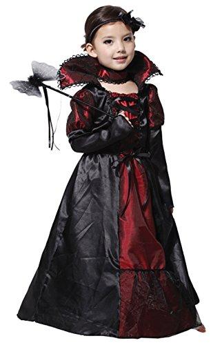 Neugeborenen Vampir Kostüme (Scothen Mädchen Vampir Prinzessin Kostüm Dracula für Halloween Cosplay Karneval Kostüm Fasching schönes Cosplay Kostüm Zubehör Fairy Halloween Cosplay Partei Abendkleid Kinder Fledermaus)