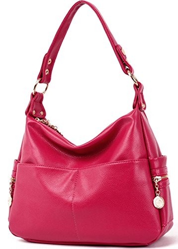 Rovanci Damen Vintage Handtasche Leder fertige Lederhaut Umhängetasche Schultertasche Shopper Taschen große Kapazität Shopper Tasche Blue Pink