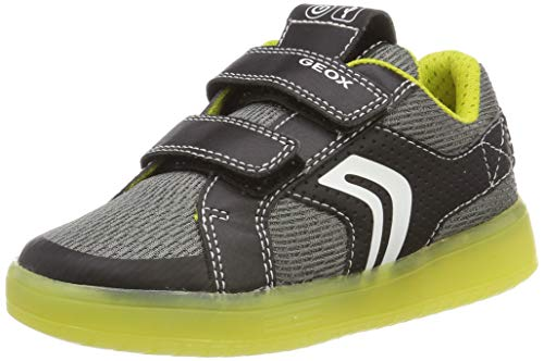 Geox Jungen J KOMMODOR BOY A Sneaker Schwarz (Black/Lime C0802) 28 EU