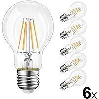[Sponsorizzato]LVWIT Lampadine Filamento LED E27, 6W Equivalenti a 60W, Luce Bianca Calda 2700K, 800Lm, Stile Vintage, Confezione da 6 Pezzi