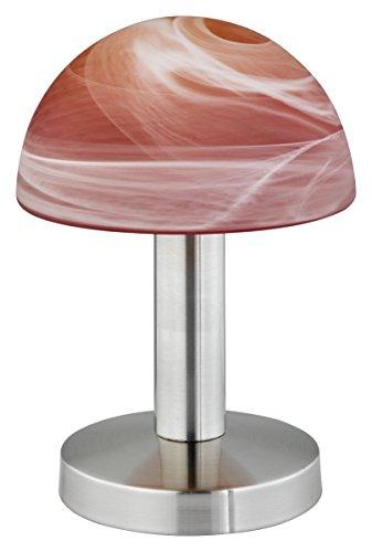 Trio-Leuchten 599000118 Tischleuchte in Nickel matt, Touch-Me-Funktion(4-fach schaltbar, 3 Helligkeitsstufen), Glas alabasterfarbig Farbverlauf rot/orange, exklusive 1xE14 max. 40W, Höhe 21 cm -