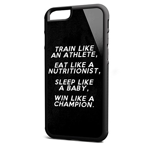 Smartcover Case Train like an Athlete z.B. für Iphone 5 / 5S, Iphone 6 / 6S, Samsung S6 und S6 EDGE mit griffigem Gummirand und coolem Print, Smartphone Hülle:Samsung S6 EDGE weiss Iphone 6 / 6S schwarz