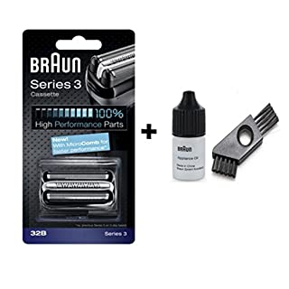 Braun Series 3 Series 3 cassette, Series 3 wet&dry, CruZer6 Clean shave, Old Spice with approx. 6cm cleaning brush and oil 7ml (32B) by Braun