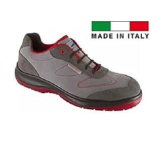 Aboutblu 1930102la _ 45Sparrow Low Grey-Red S3Work Shoe, Size 45, Grey/Red