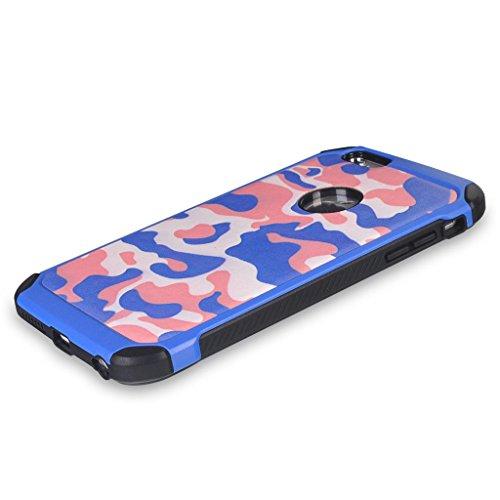 UKDANDANWEI Camo Series Hülle,Super Schild Hohe Gel Silikon Haut Slim Fit Zurück Schale Abdecken Schutzhülle Case Cover für iPhone 6S Plus / 6 Plus - Rosa Azurblau