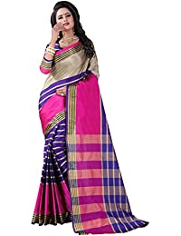Vastrang Women's Cotton Silk Saree With Blouse Piece(A106_Pink Blue_Free Size)