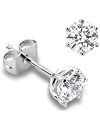 Abelini Certified 100% Natural Round Diamond Stud Earrings for Women (Available in 0.20-1.00ct & Yellow, White Gold & platinum)