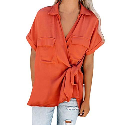 BURFLY Sommer Damen Oberteile, Frauen Sexy Mode V-Ausschnitt Kurzarm T-Shirt Solide Verknotet Revers-Tasche Plus Größe Top Bluse