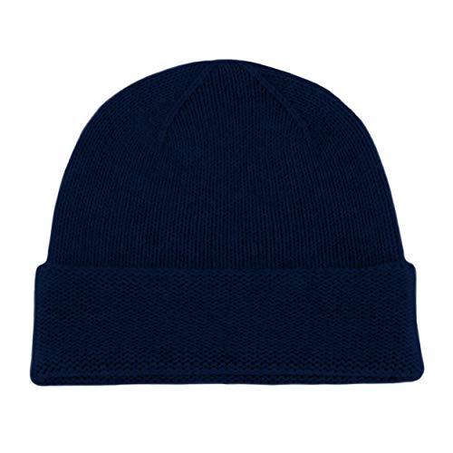 Love Cashmere Bonnet pour Homme 100% Cachemire - Bleu Marine Foncé - Fait Main à Écosse