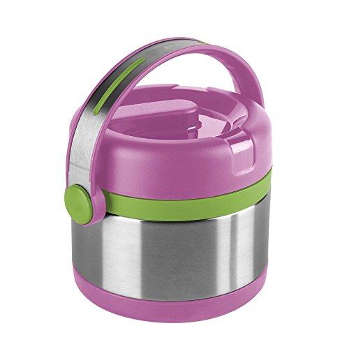 Emsa Boîte Isotherme avec Récipient Alimentaire, 0,65 Litre, Couvercle Dévissable, Inox/Rose/Vert, Mobility Kids, 515861