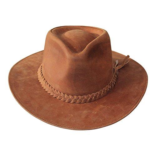 B&S Premium Leder Fedora - Hut mit breiter Krempe - Hochqualitatives Leder - Wasserabweisend - 62cm braun