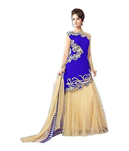 Z fashion Blue Velvet Partywear Lehenga Gown