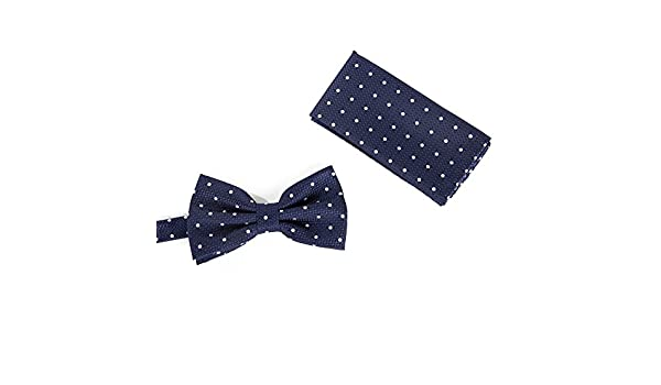 New Brand Q Men/'s  Pre-tied Bow Tie /& hankie navy blue white polka dots formal