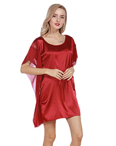 WanYang Femmes Peignoir avec Satin Robe Dentelle Chemise De Nuit En Pyjama Manches Courtes Du vin