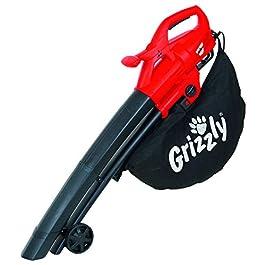 Grizzly Electric 3in1 Aspirateur, Souffleur, Broyeur de feuilles filaire – 2800 Watt – Vitesse de soufflage 270 km/h – grandes roues – sac de 40 l et bandoulière