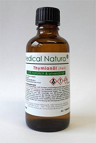 100 ml Thymianöl (Thymus vulgaris), Thymian Öl, hell, 100% natürlich und unverdünnt. Aroma-Kosmetikum zur Körperpflege. In Braunglas mit Tropfeinsatz (für mittelschnelles Tropfen). -