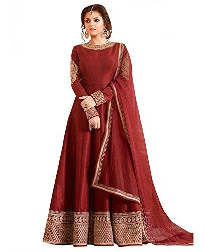Dhruv Fab Women's Crepe Silk Anarkali Salwar Suit (Free Size_maroom)