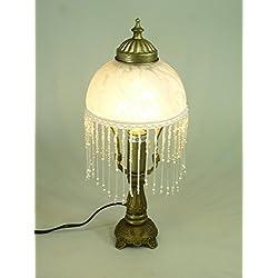 LED Tischleuchte Landhausstil Weide messing-antik Glasschirm, inklusive LED Leuchtmittel E14-2Watt Lampe