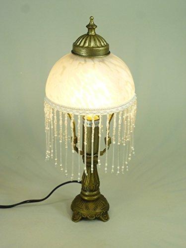 Für Die Leuchten Glasschirm (LED Tischleuchte Landhausstil Weide messing-antik Glasschirm, inklusive LED Leuchtmittel E14-2Watt Lampe)