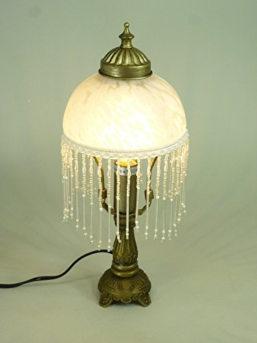 LED Tischleuchte Landhausstil Weide messing-antik Glasschirm, inklusive LED Leuchtmittel E14-2Watt Lampe (Antike Messing Leuchten)