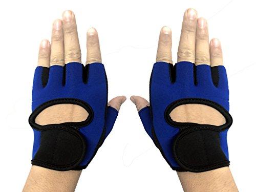 CP BIGBASKET Men's and Women's Weight Lifting Gloves (Blue)
