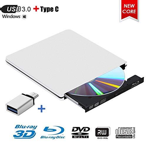 Externes Blu Ray DVD Laufwerk,MingBin Externe 3D Blu Ray DVD Brenner,USB 3.0 Tragbare Ultra Slim BD/CD/DVD RW Player Disc für Windows 10/7/8 / Vista/XP/Mac OS Linux