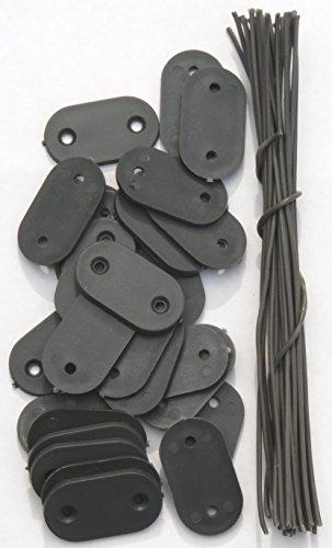 Befestigung Montage-Plättchen Draht Kabelbinder für PVC Sichtschutz Blickschutz (26 Plättchen grau)