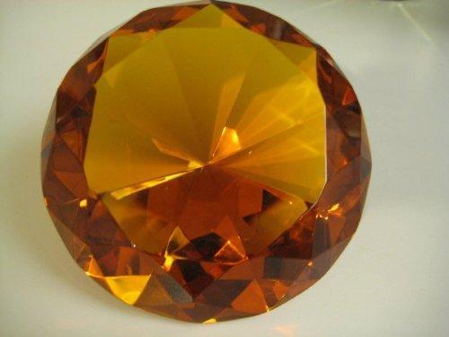 (100mm) orange Glas Diamant Geformt Briefbeschwerer 10,2cm von RD (Diamant Geformte Gläser)