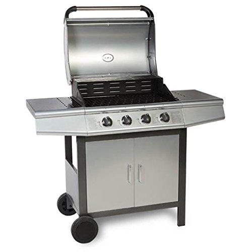 TAINO® Gasgrill BBQ Grill-Wagen 4 Edelstahl-Brenner TÜV Gasbrenner Farbe Silber / Anthrazit