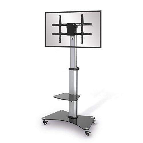 conecto LM-FS01A Premium TV-Ständer Standfuß für Flachbildschirm LCD LED Plasma höhenverstellbar 37-70 Zoll (94-178 cm, bis 40 kg) max. VESA 600x400mm, Aluminium, Silbergrau/schwarz