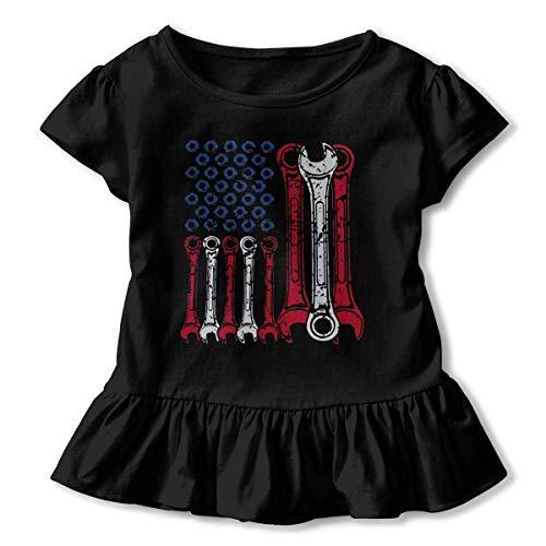 Mechanic USA Flag Toddler Girls' T Shirt Short Sleeve Ruffle Tee -