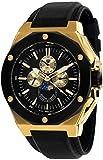 LOUIS XVI Herren-Armbanduhr Le Souverain Gold Schwarz Mondphase Analog Quarz echtes Leder Schwarz 521