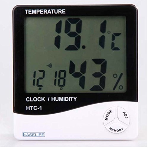 EASELIFE Premium Quality Temperature Humidity Time Display Meter with Alarm Clock, Wall Mount or Table Top Monitor Sensor Thermostat Home Office, digital indoor thermometer with memory, HTC-1  available at amazon for Rs.499