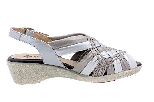 Komfort Damenlederschuh Piesanto 6562 sandale keil bequem breit Titanio/Gris