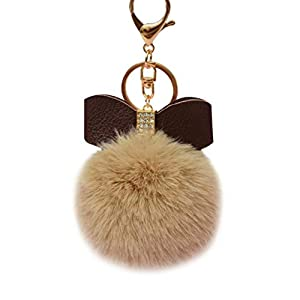 Voberry Fluffy Faux Rabbit Fur Ball Bowknot Charm Car Keychain Handbag Key Ring Green