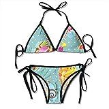 Colorful Ice Cream Sexy Women Beach Swimwear Two Pieces Bathing Suit Bikini Top