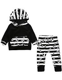 Baby Strampler Junge Halloween Kleinkind Baby Jungen Gestreifte Oberteile Hoodie Hosen Outfits 2er Set Kleider